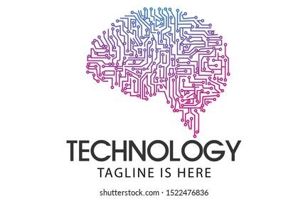 digital brain logo design. brain tech logo template vector icon