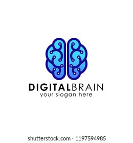 digital brain logo design template. electric brain logo vector icon