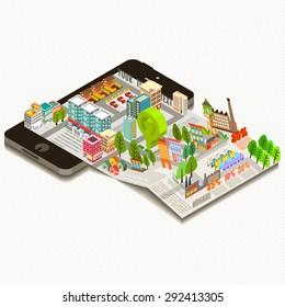 Digital brochure, Map on mobile application, Vector illustration.