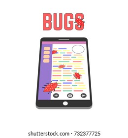 Digital bugs on the smartphone screen. QA and IT illustration