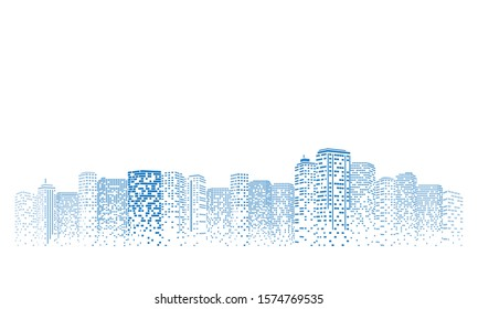 Digital building city Illustration at night, City scene on night time.