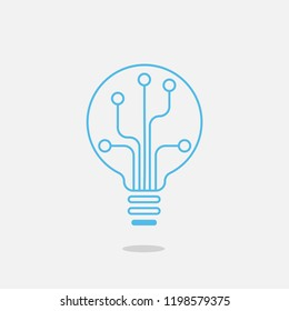 Digital Bulb logo  of information technology.Lighting and the growth of digital technology business and success.