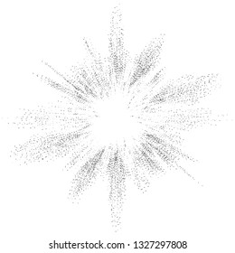 Digital burst pattern with multiple dots. Explosion consist of black particles isolated on white background. Futuristic big data illustration. Abstract dotted concept for galaxy or universe design.