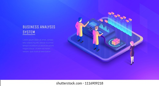 Digital business analysis. Analysis of investments. Business Woman is watching the process of business analysis. Performance indicators. Modern vector illustration isometric style.