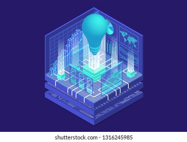 Digital business innovation concept with symbol of light bulb and dashboard as isometric vector illustration