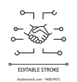 Digital business linear icon. Thin line illustration. Online partnership and business deal. Contour symbol. Vector isolated outline drawing. Editable stroke