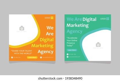 Digital Business Marketing Social Media Post, Banner Set, Square Flyer Template, Editable Web Banner Post Template, Promotion Social Media Post Template