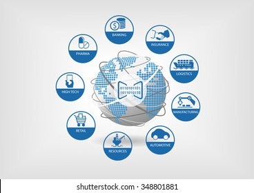 Digital business vector illustration. Icons of global digital industries like banking, insurance, logistics, manufacturing, retail