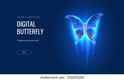 Digital butterfly in a futuristic polygonal style on a blue background. Converting binary code into a butterfly, metamorphosis of renewal or transformation.Successfully bringing business ideas to life