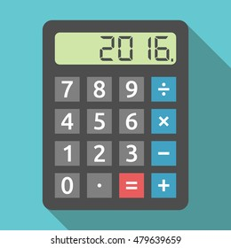 Digital calculator showing 2016 number. Finance, accounting, revenue, tax and results of year concept. Flat design. EPS 8 vector illustration, no transparency