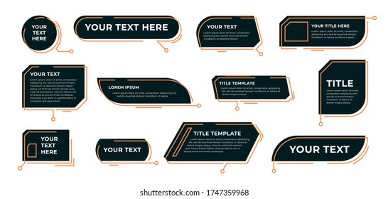 Digital callout titles set. Futuristic textboxes templates, frame boxes with text sample. Flat vector illustration for presentation or infographics content concepts