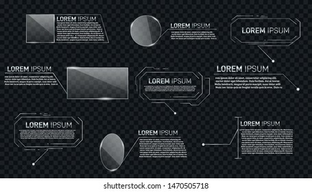 Digital  Callouts titles.Set of HUD futuristic sci fi frame template. Vector design of titles bar for infographics, advertising, video production.