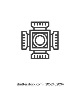 Digital camera cmos chip outline icon. linear style sign for mobile concept and web design. CMOS ccd sensor simple line vector icon. Symbol, logo illustration. Pixel perfect vector graphics