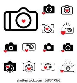 Digital Camera and Heart Icons Isolated. Snapshot Photography Sign or Logo. Instant Photo Concept