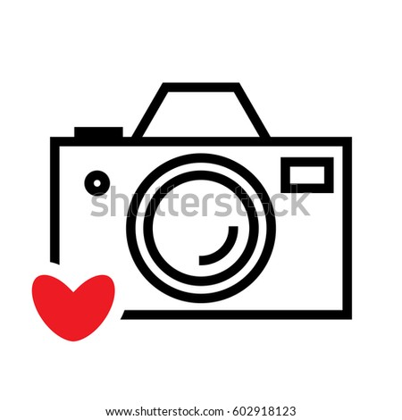 Digital Camera Heart Vector Icon Snapshot Stock Vector Royalty Free