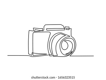 Digital camera one line drawing. Vector illustration gadget technology concept.