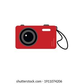 Digital camera vector illustration isolated on white background. Vintage photo camera icon. Flat style.
