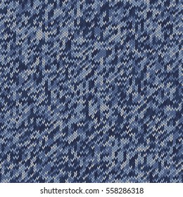 Digital camouflage pattern. Knitting seamless texture. Shades of blue colors. Vector illustration.