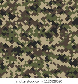 Digital camouflage seamless pattern. Abstract geometric military texture. Repeating modern stylish fabric textile background. Vector illustration.