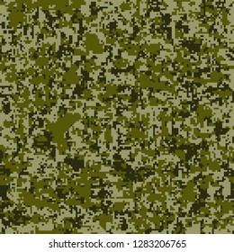 Digital camouflage seamless pattern. Abstract geometric military texture. Repeating modern stylish fabric textile background Fashion Pixel Camo