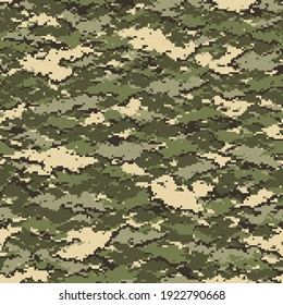 Digital camouflage seamless pattern. Abstract modern pixel camo texture for army and hunting fabric and fashion print. Vector background in military style.