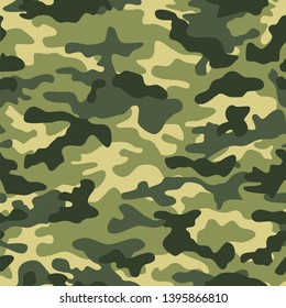 Digital camouflage seamless pattern. Military texture. Abstract army or hunting masking ornament. Classic background. Vector design illustration.