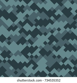 Digital camouflage seamless pattern. Vector abstract military camo blue background.