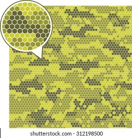 Digital camouflage seamless patterns - vector hexagons.