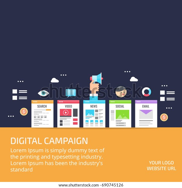 Digital Campaign Content Marketing Social Media Stock Vector