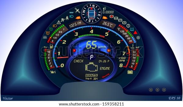 Digital Car Dashboard Stock Vector (Royalty Free) 159358211