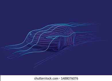 Digital car speed line art illustration