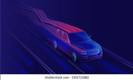Digital car speed vector abstract illustration