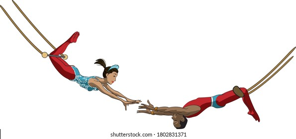 Digital cartoon style illustration of male and female trapeze artists wearing tights and swinging holding out hands