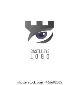Digital castle, fortress vector logo. Tower architecture icon.