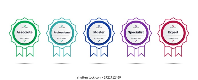 Digital Certified logo badge. Set of company training icon certificates to determine based on criteria.