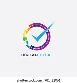 Digital Check Logo Illustration Template. Circle Colorful Logo. Media Design Logo template.