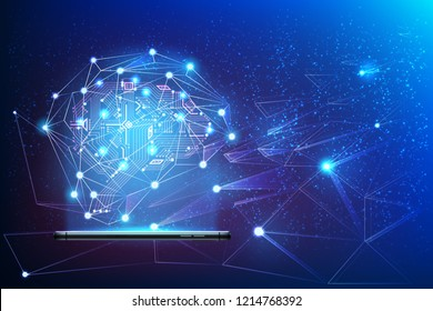Digital circuit brain with neural network around coming from smartphone. Big data artificial intelligence concept. Machine learning advanced analytics poster Modern technology, vector ai background
