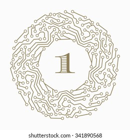 Digital circuit decorative art frames for design template. Number one modern element for design, place for text. Golden electronic  border.illustration for invitations and greeting cards