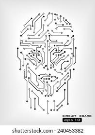 digital circuit human head silhouette vector background