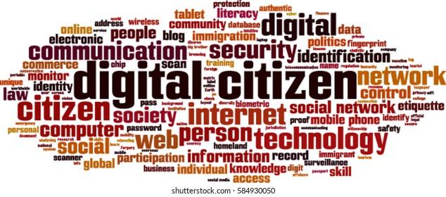 Digital citizen word cloud concept. Vector illustration
