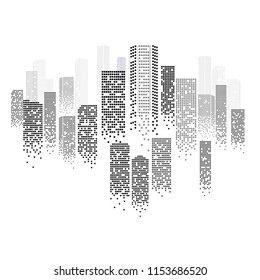 Digital Cityscape Outline with Urban Panorama in Modern Graphic Style. Vector Illustration