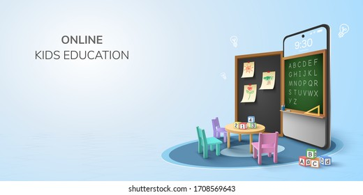 Digital Classroom Online Education kindergarten backto school concept. learning on phone, mobile website background. decor by blackboard kid, children Student desk table chair. 3D vector Illustration.