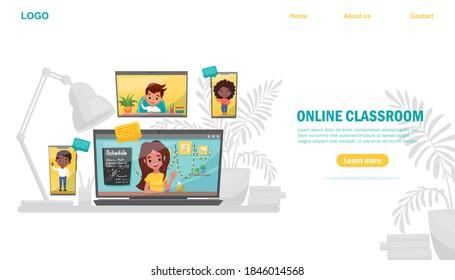 Digital Classroom Online Education website template or background. Webinar, digital classroom, online teaching. Happy children are listening to their teacher. Vector flat cartoon illustration