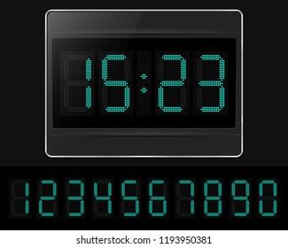 Digital clock with lcd display. Vector illustration.