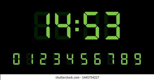 Digital clock number set. Electronic figures. Vector illustration.