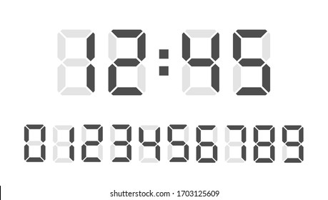 Digital clock number set. Led digit set. Electronic figures. Vector illustration.