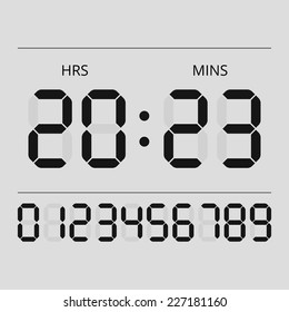 Digital clock and numbers. Simple vector illustration