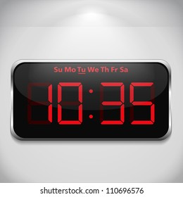 Digital clock on gray wall, vector eps10 illustration