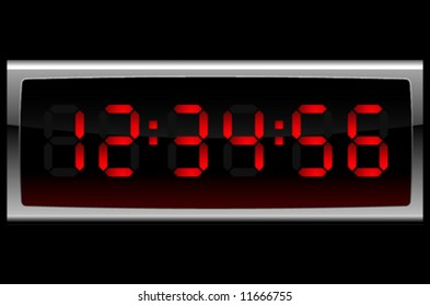 Digital clock in red