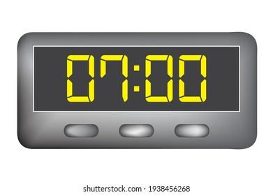 Digital clock vector, time, hour, minutes